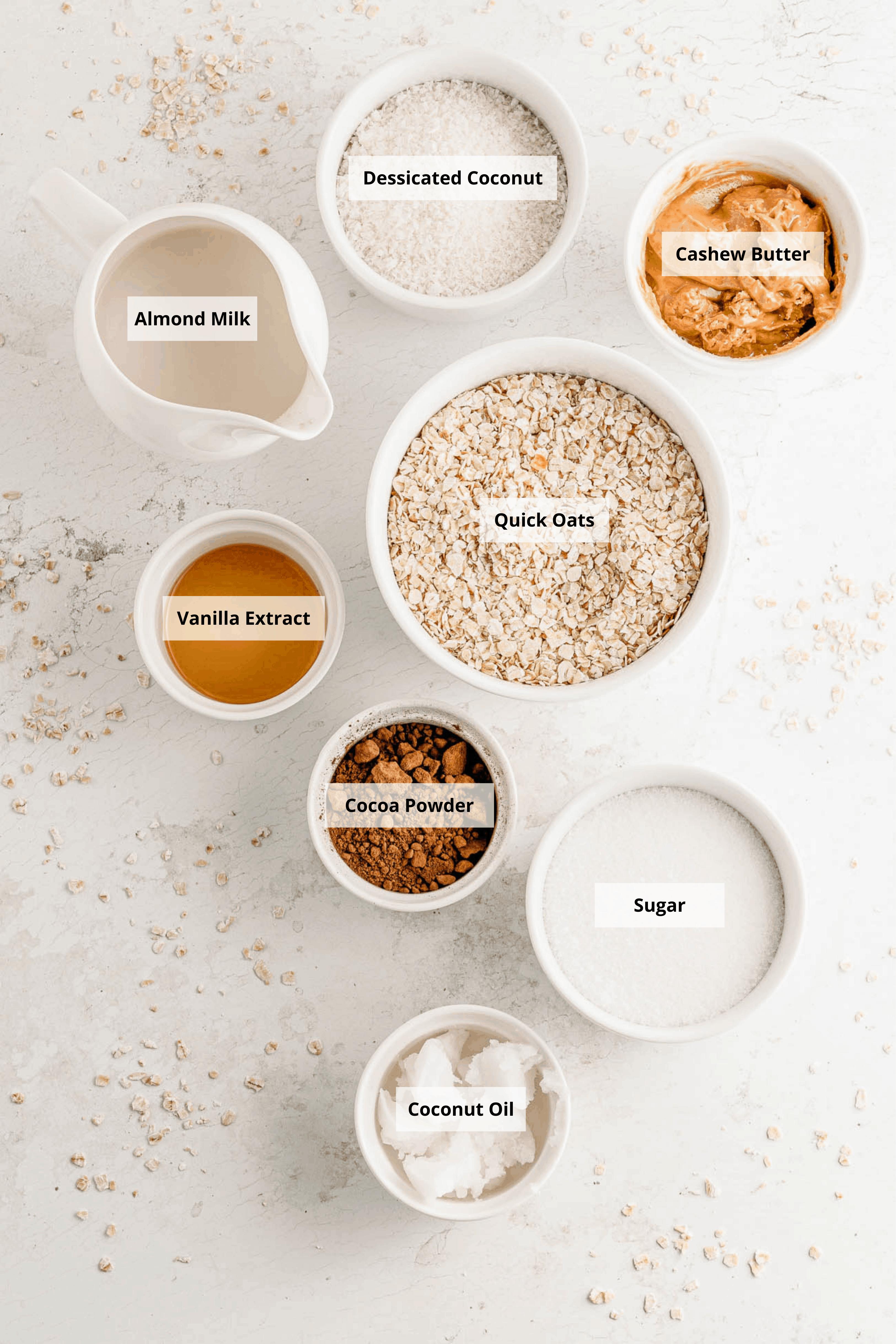 recipe ingredients - oats almond milk cocoa powder sugar coconut oil cashew butter