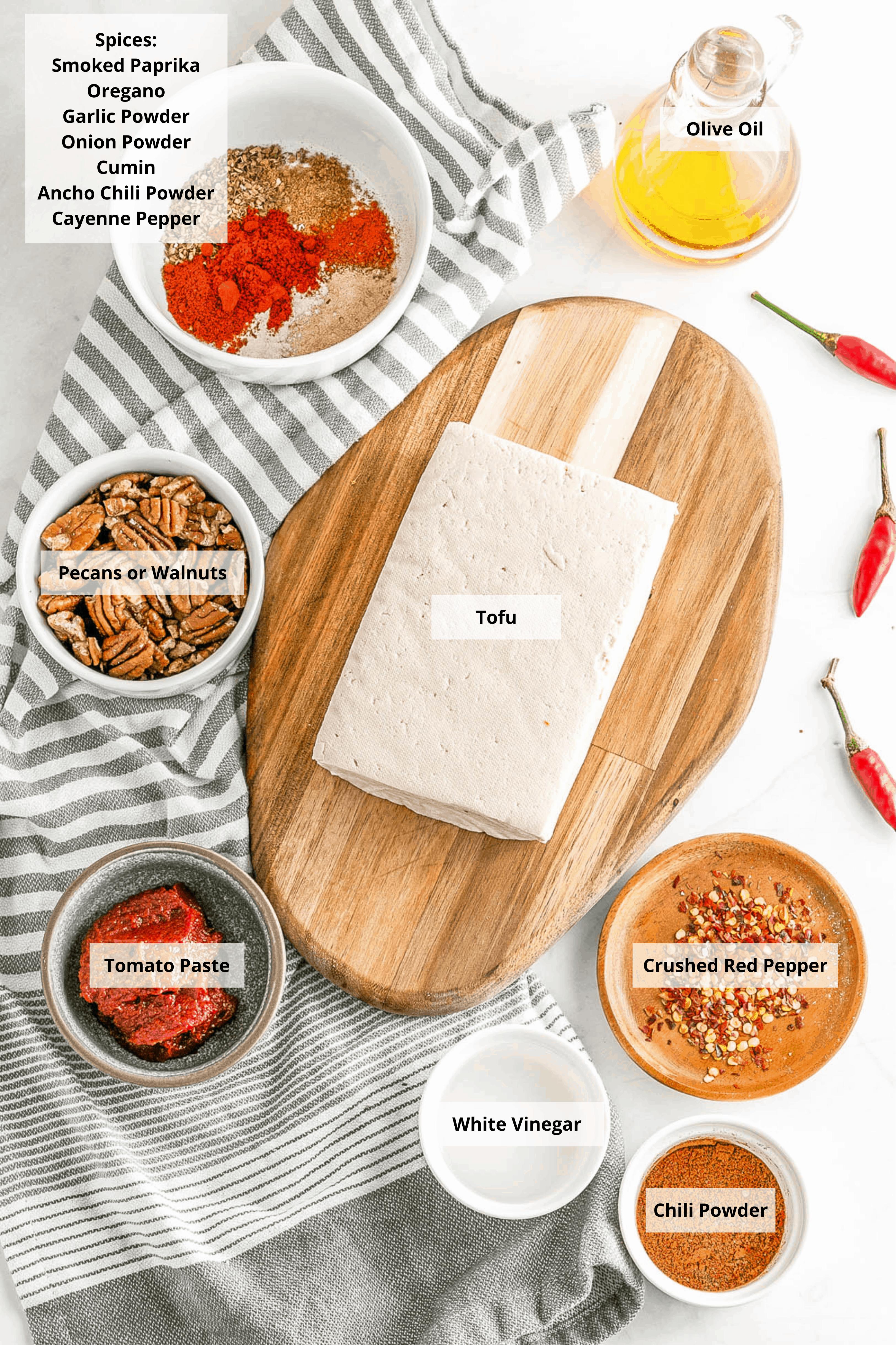 ingredients for vegan chorizo