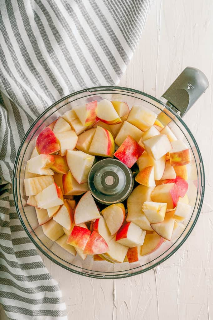 apples in a food processor