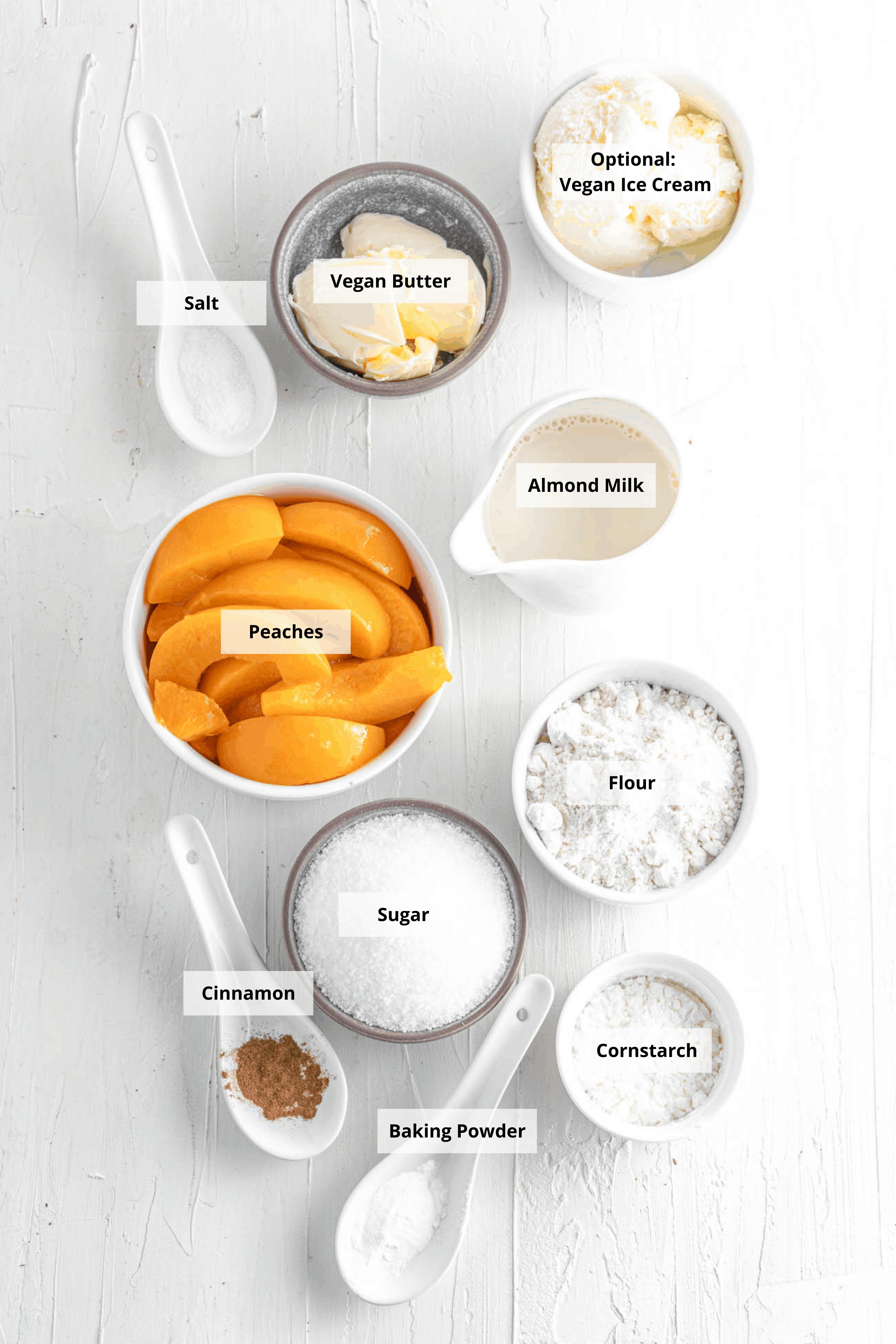 ingredients for vegan peach cobbler