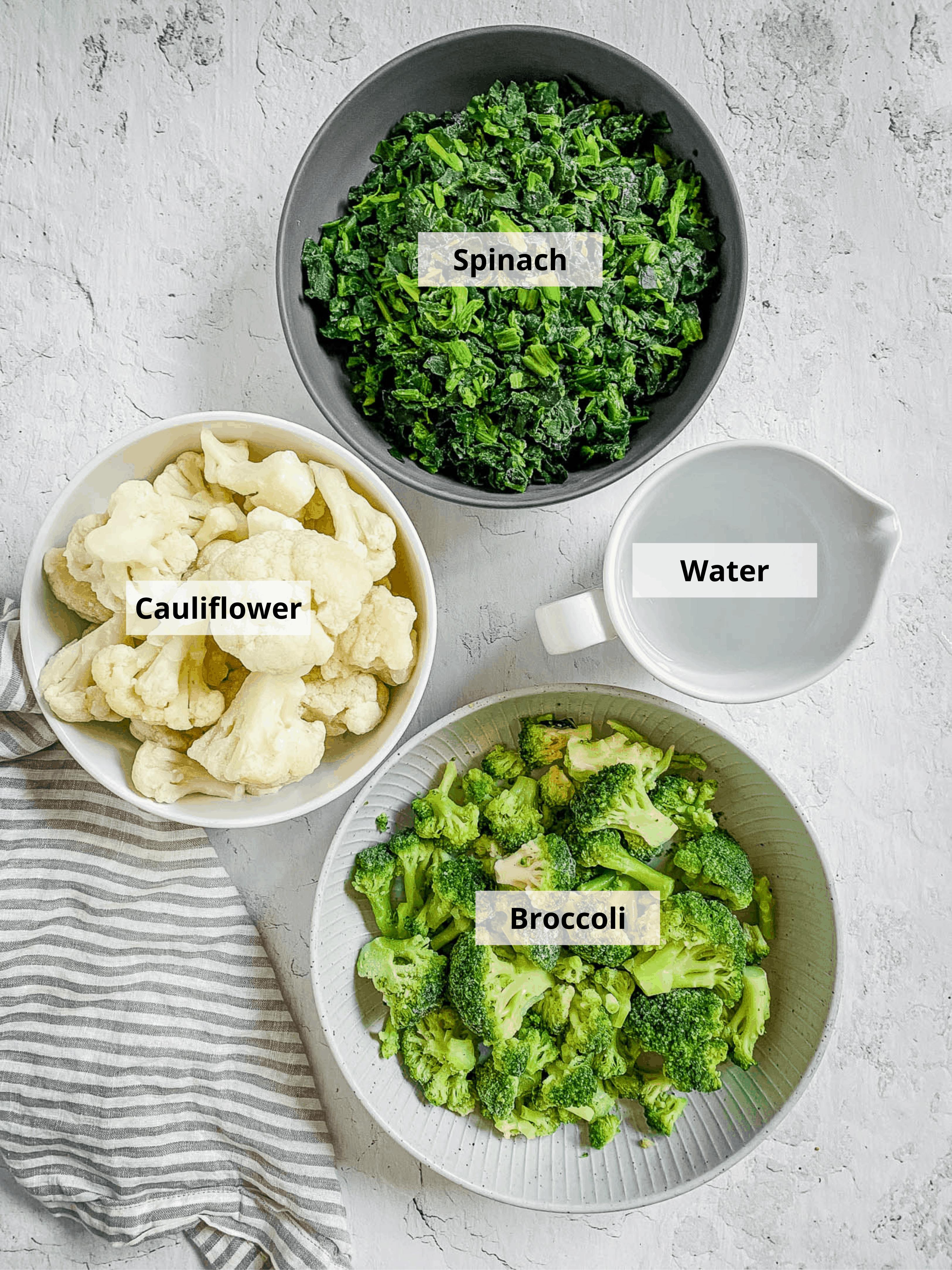 ingredients for vegetable puree