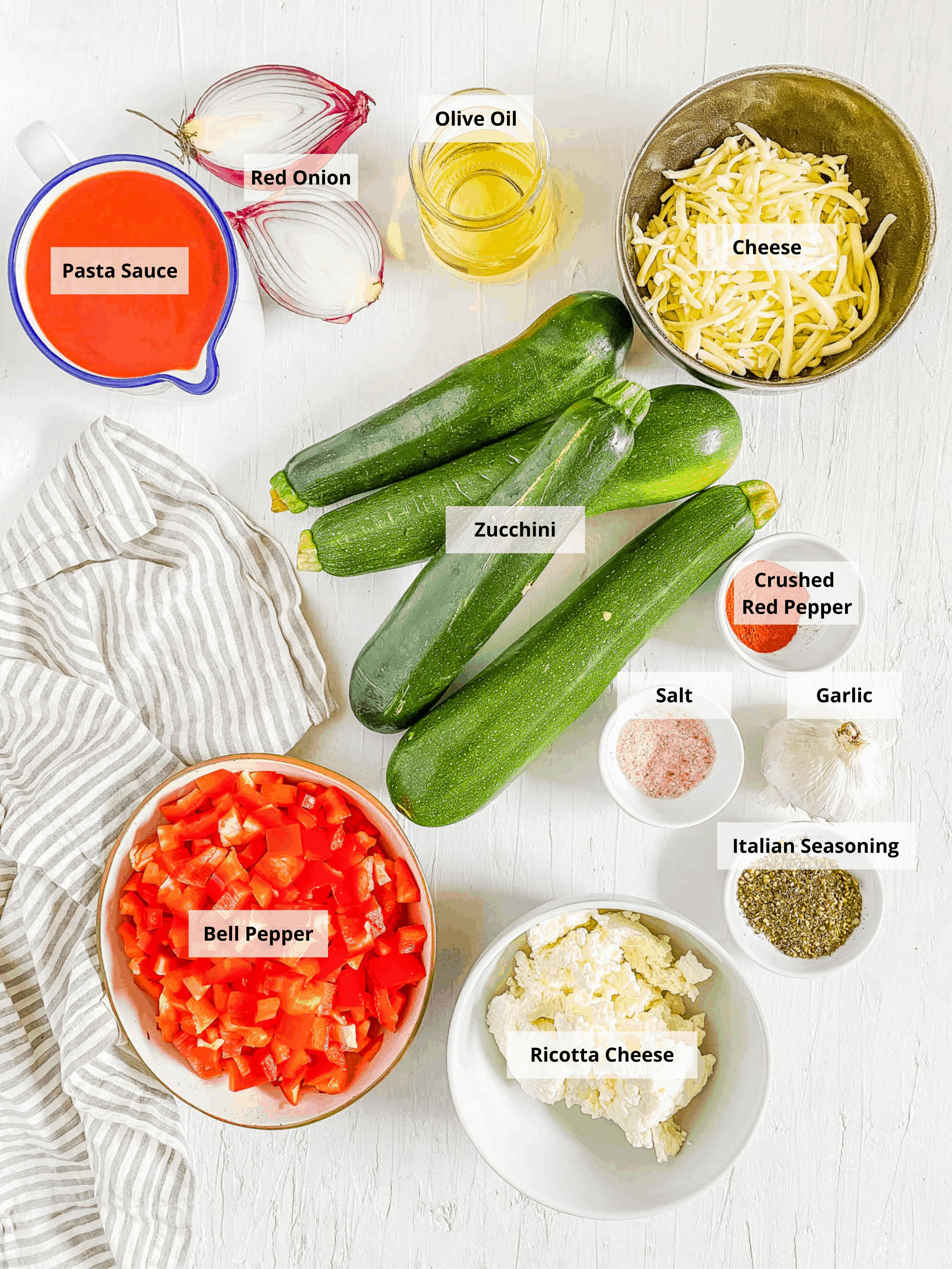 ingredients for vegetarian zucchini lasagna i