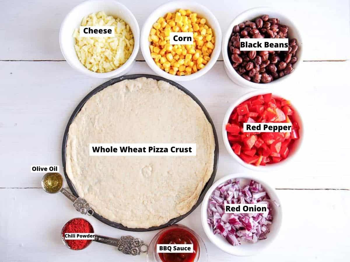 ingredients for black bean pizza