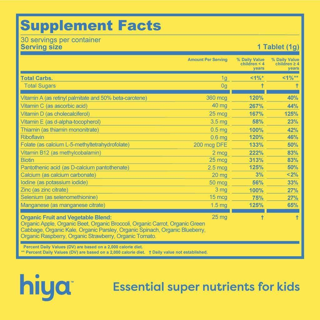 nutritional info for hiya vitamins