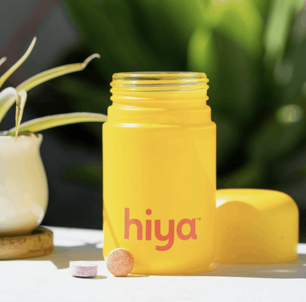 hiya vitamins bottle with pills on the outside
