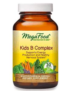 Mega Food B Complex vitamins bottle.