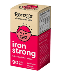 Renzon's iron strong chewables box of vitamins.