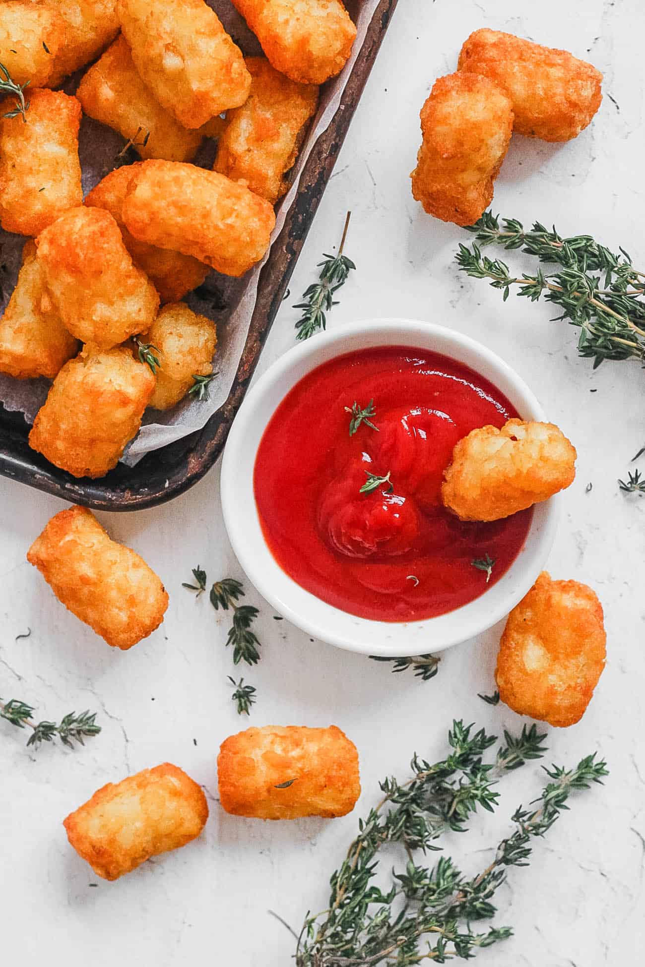 air fryer frozen tater tots served with ketchup