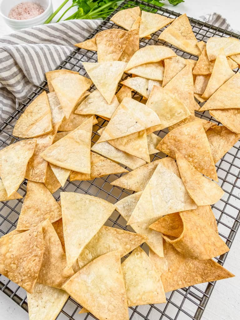 air fryer tortilla chips from scratch on a wire rack