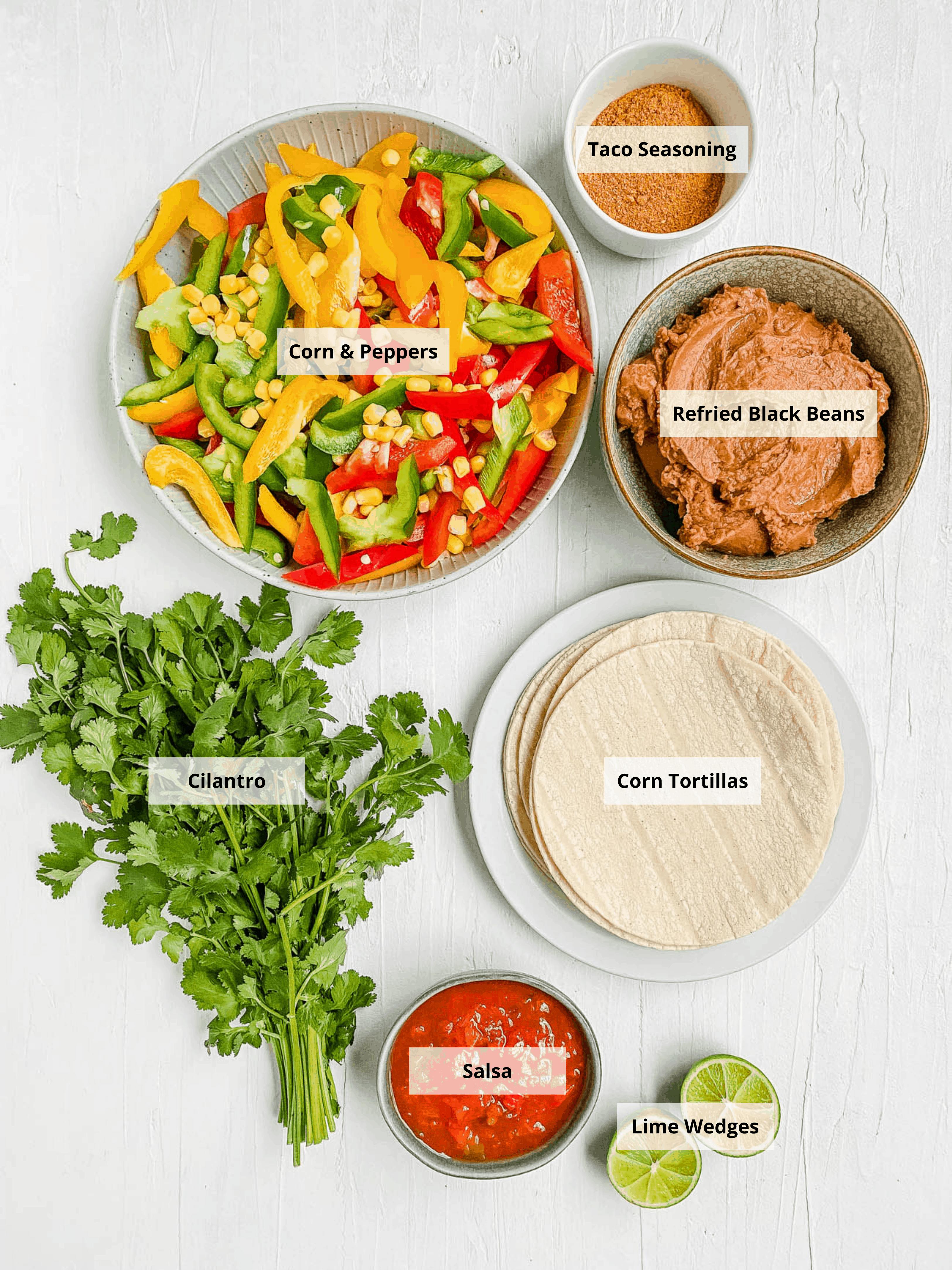 ingredients for vegetarian fajitas