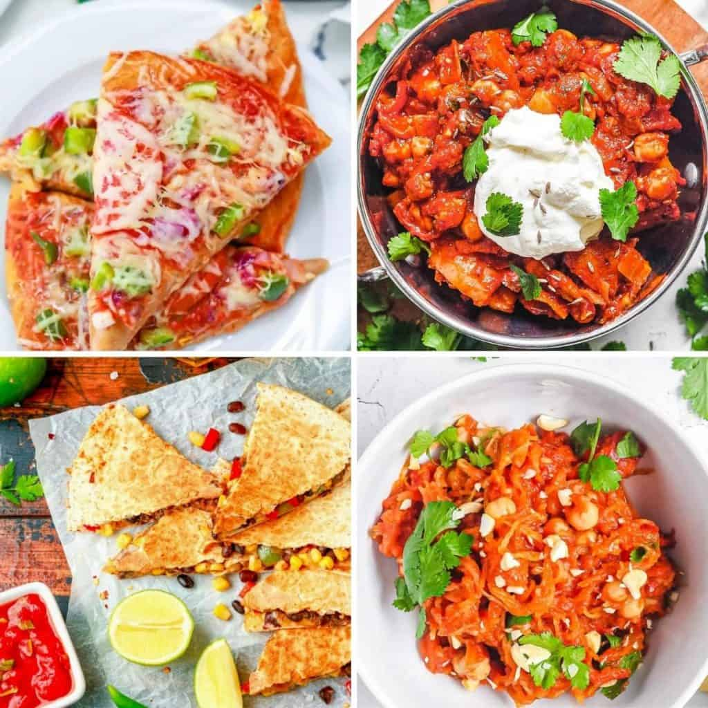 Collage of cheap vegetarian recipes: pizza, quesadilla, dal, and spaghetti squash