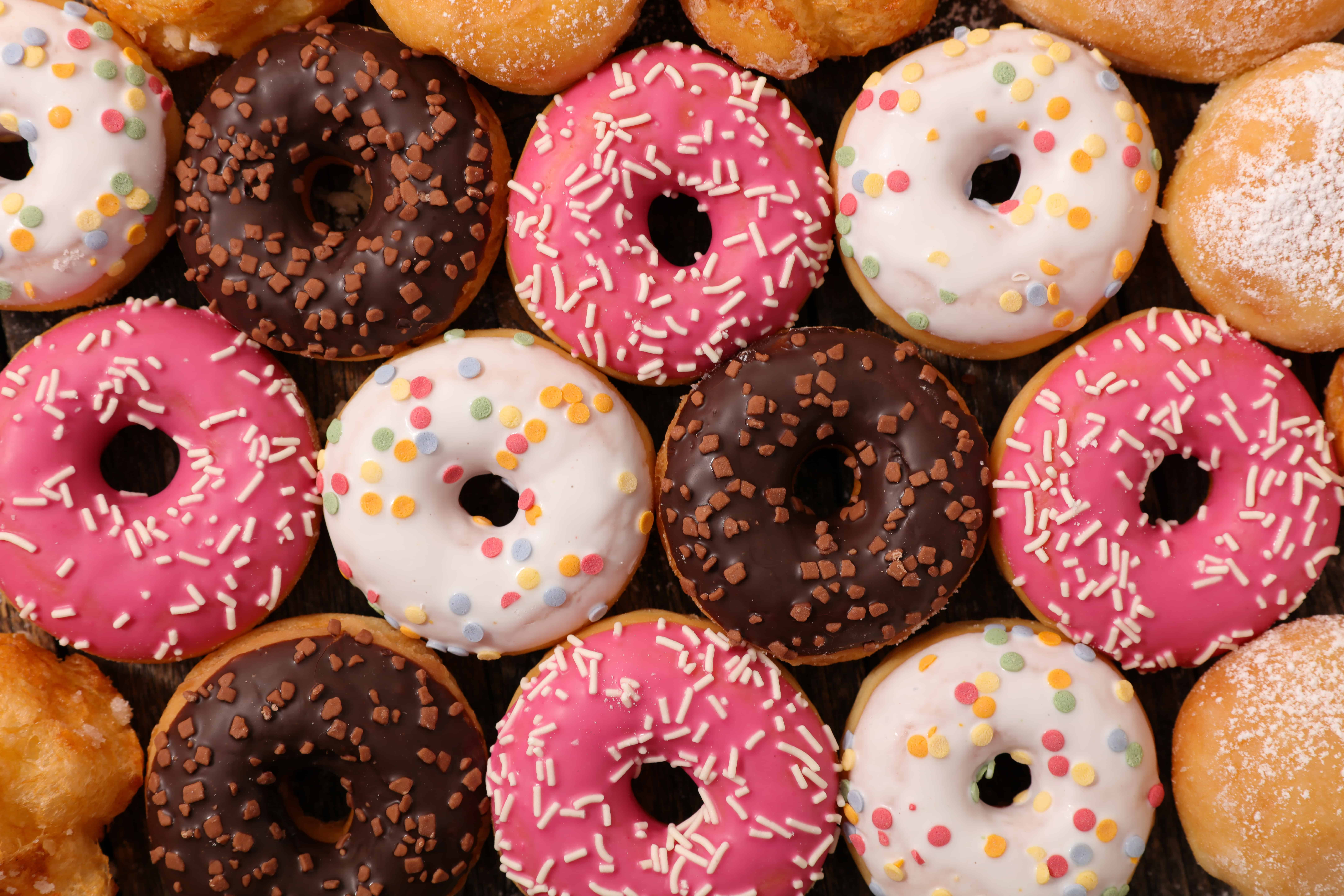 foods that start with d - assorted glazed donuts