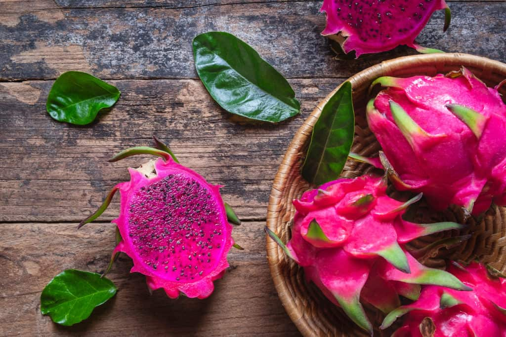 Dragon fruit on wood - foods that start with d