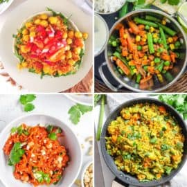 Indian Recipes for Kids collage: curry pizza, Indian mixed vegetables, spaghetti squash, Indian fried rice.