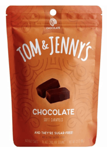 low calorie candy - tom and jennys caramels package