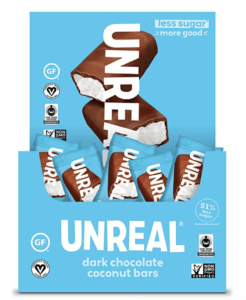 package of unreal coconut bar - low calorie candy