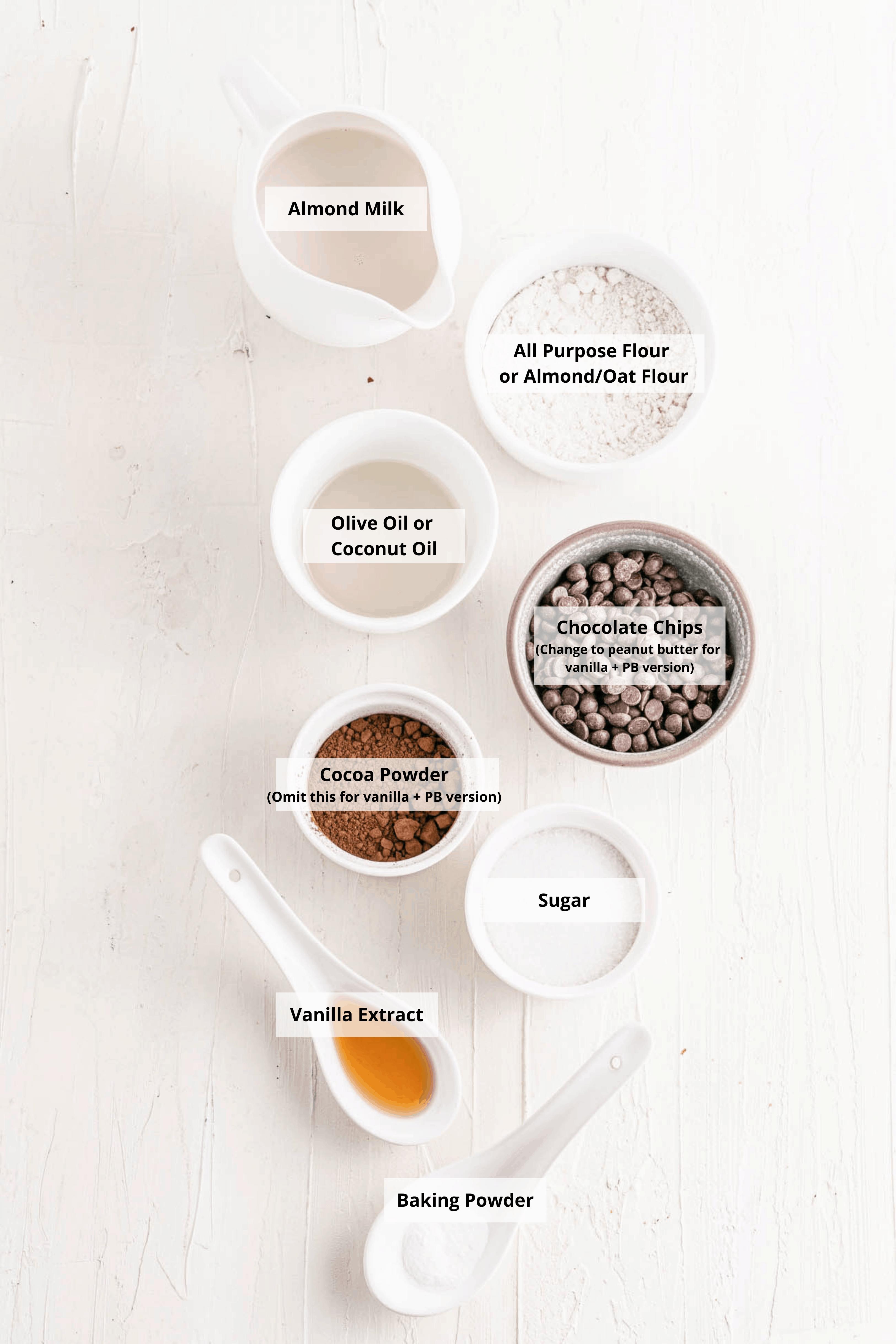 ingredients for vegan mug cake recipe