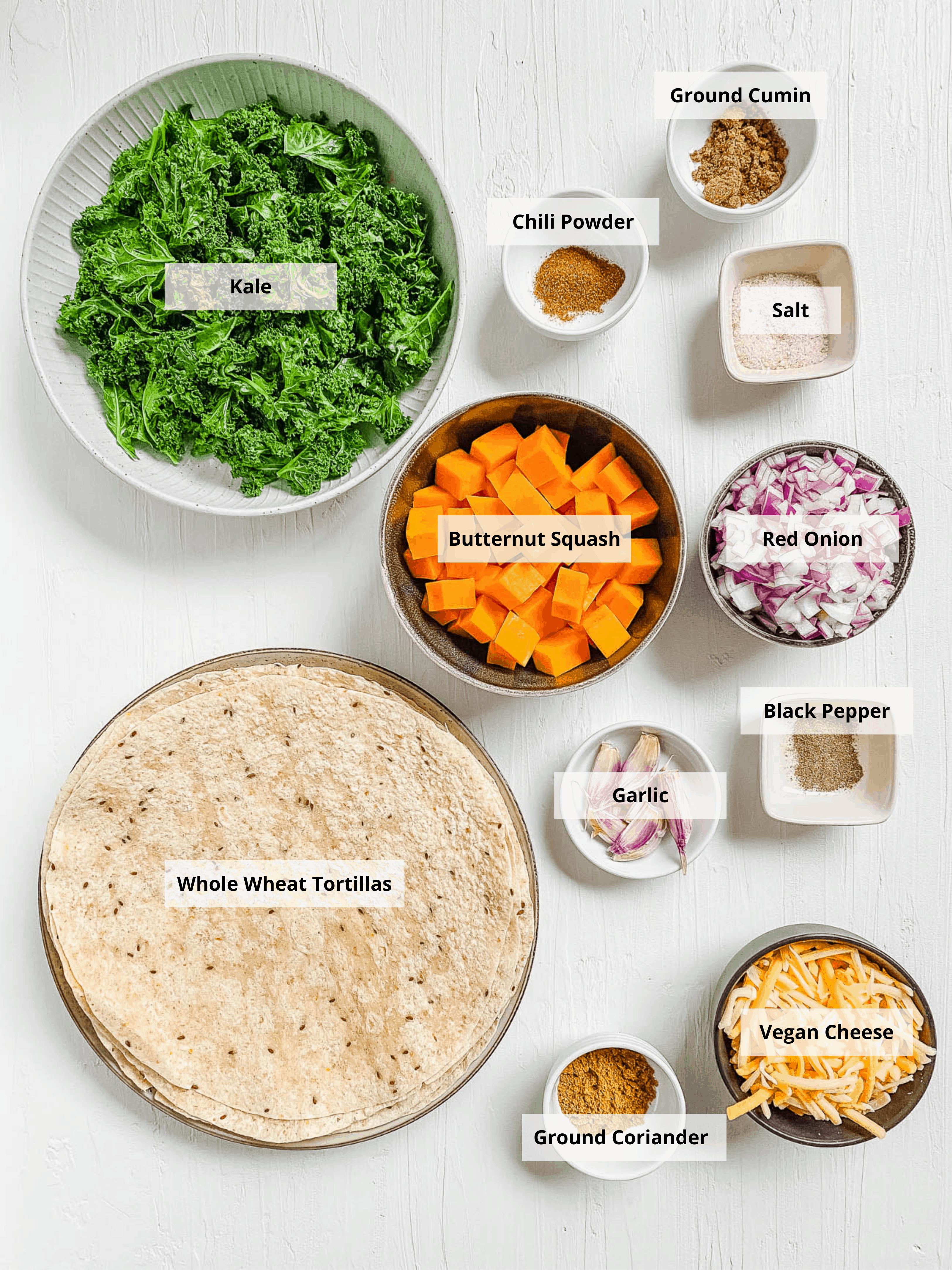 ingredients for vegan quesadillas