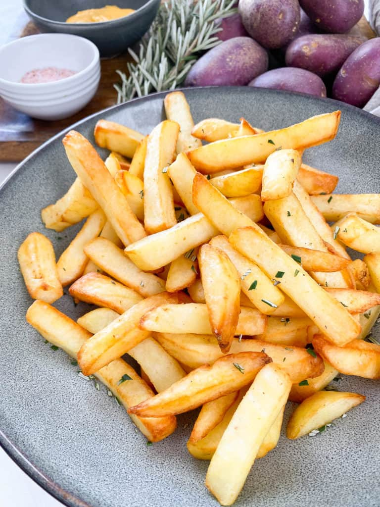 air fry frozen fries on a plate
