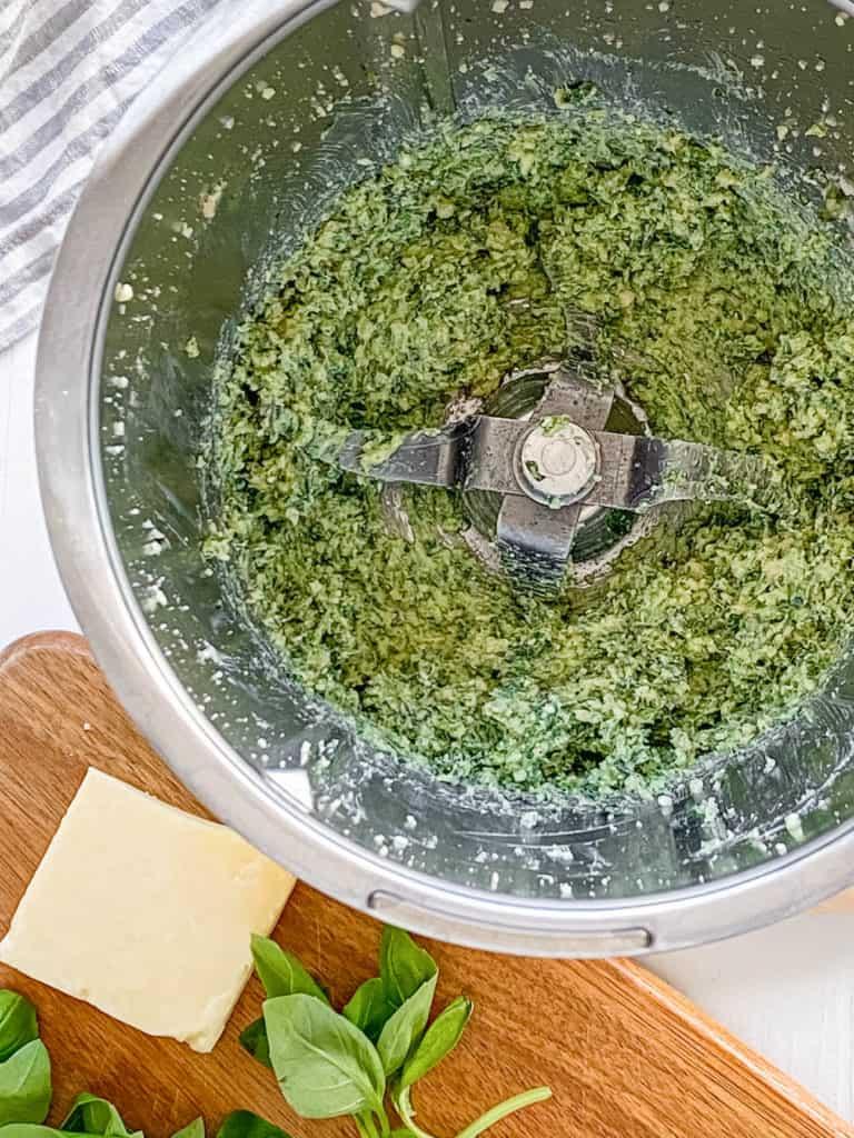 vegetarian basil pesto in a food processor