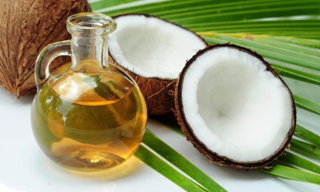Coconut oil in small jar beside broken coconut shell. - best oil to season cast iron