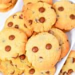 chocolate chip cookies without brown sugar on a white plate