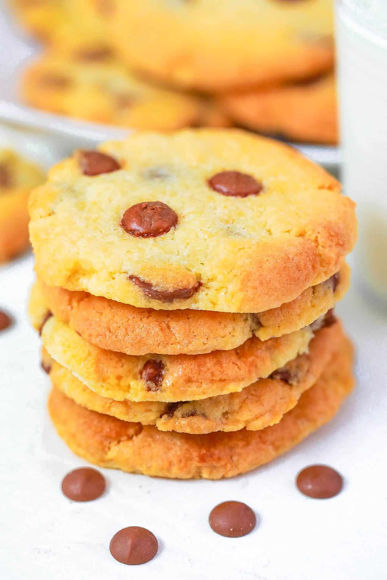 chocolate chip cookies with no brown sugar on a white plate