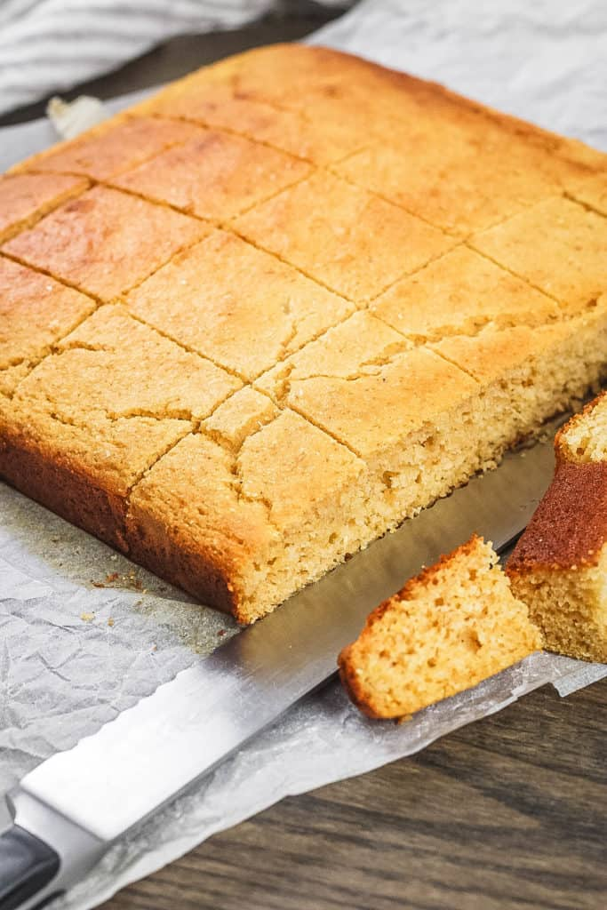 healthy cornbread with honey cut into squares