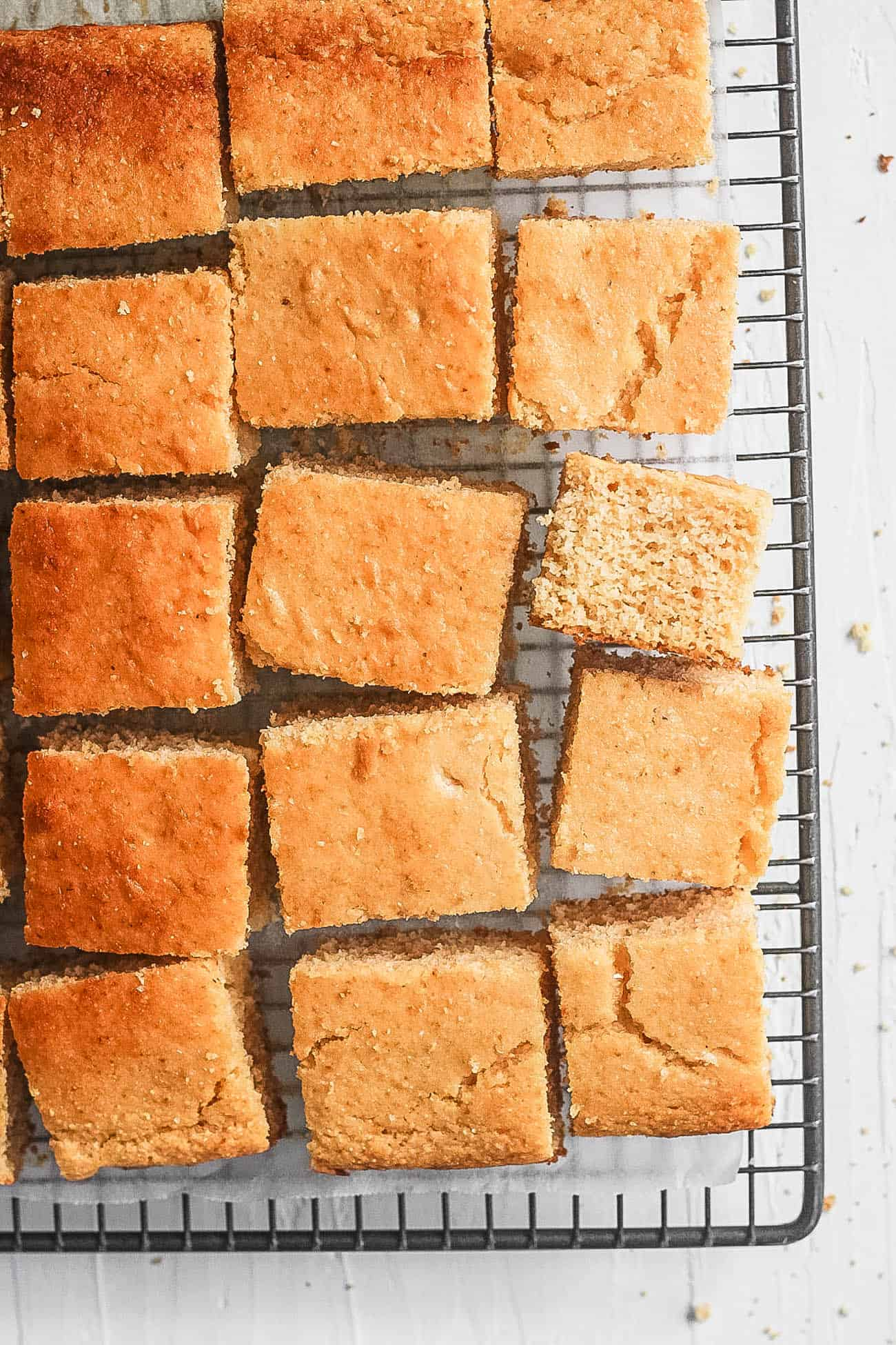 healthy cornbread (with vegan option) on a wire rack