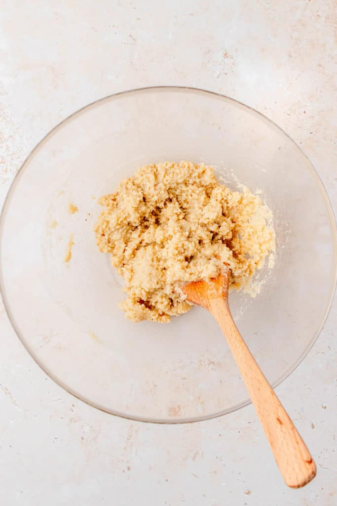 eggless cookie dough in a glass mixing bowl