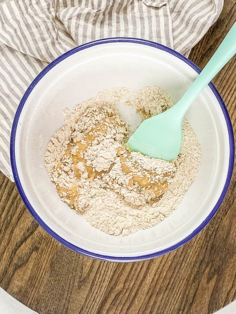 dry and wet ingredients mixed together in a bowl