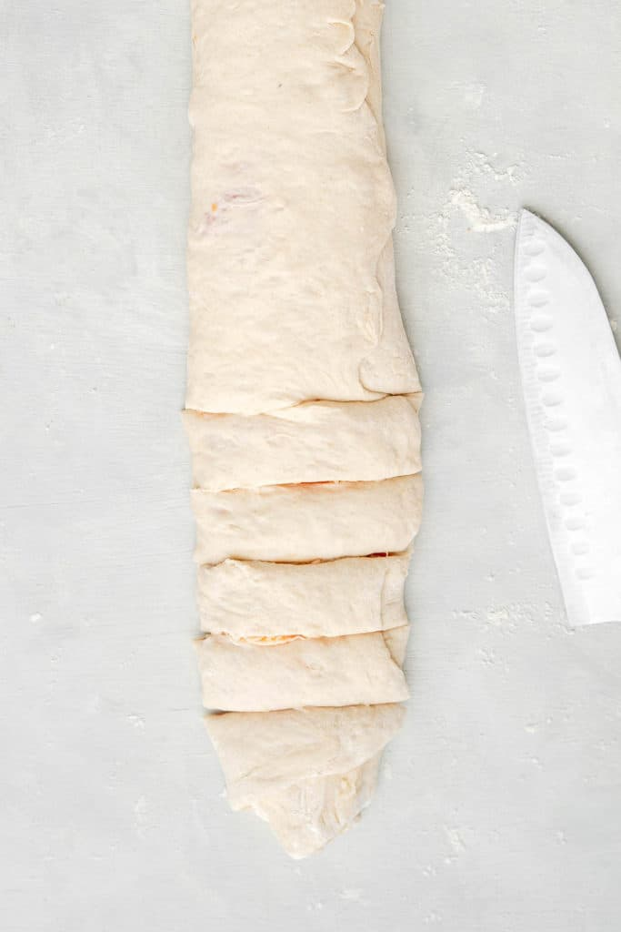 pizza dough rolled up for air fried pizza rolls