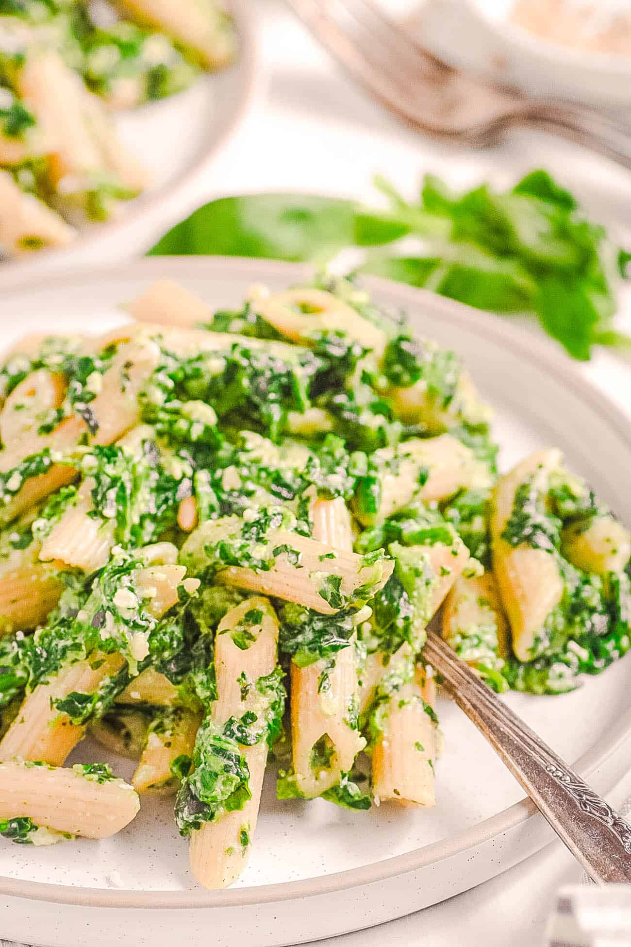 vegetarian pesto pasta recipe with spinach, basil and pine nuts on a white plate