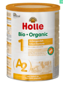 Holle A2 Stage 1 formula canister.