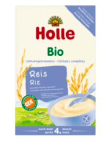 Holle rice cereal box.