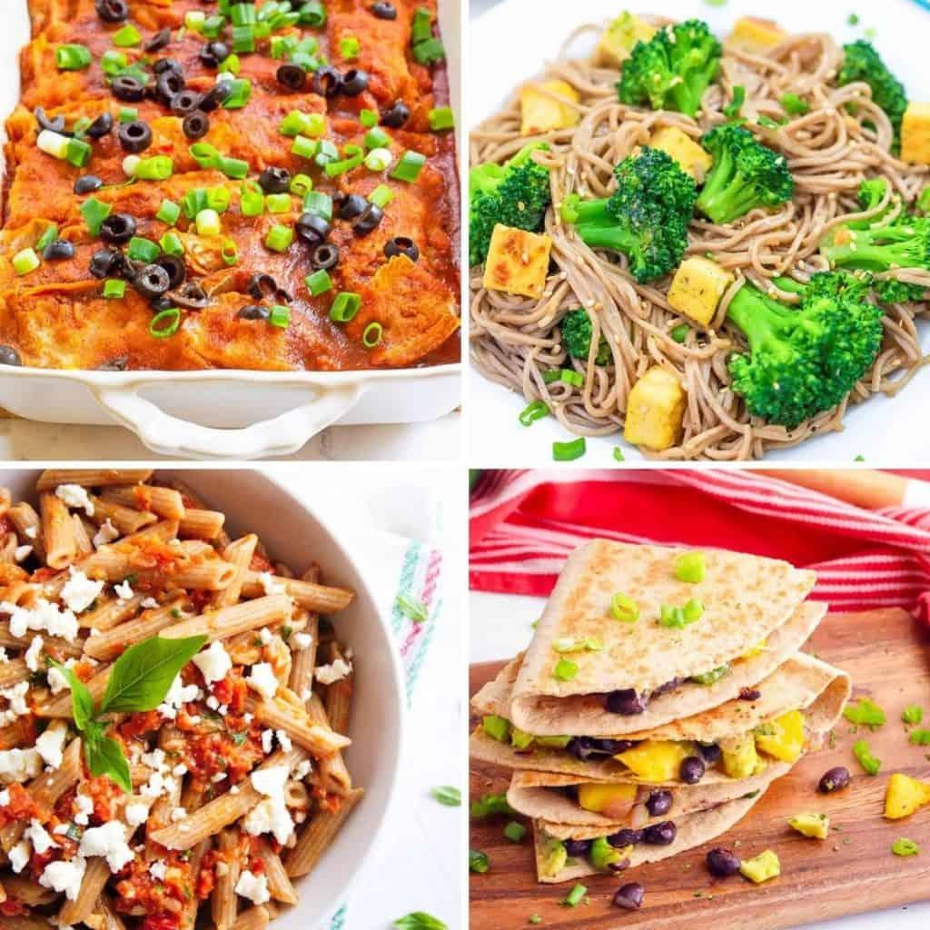 Sunday dinner ideas: vegan enchiladas, tofu sesame noodles, pasta, black bean quesadillas.