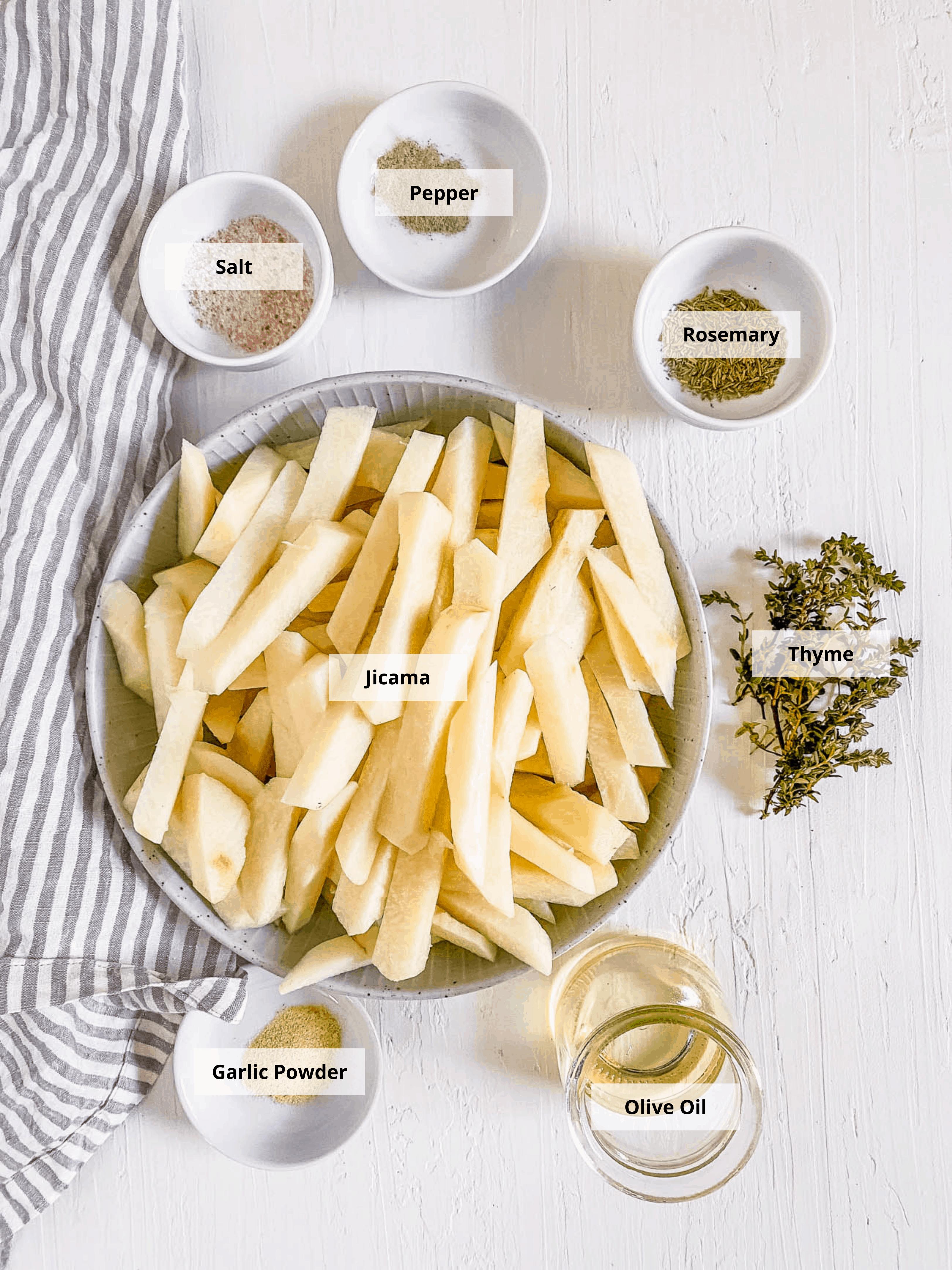 ingredients for air fryer jicama fries