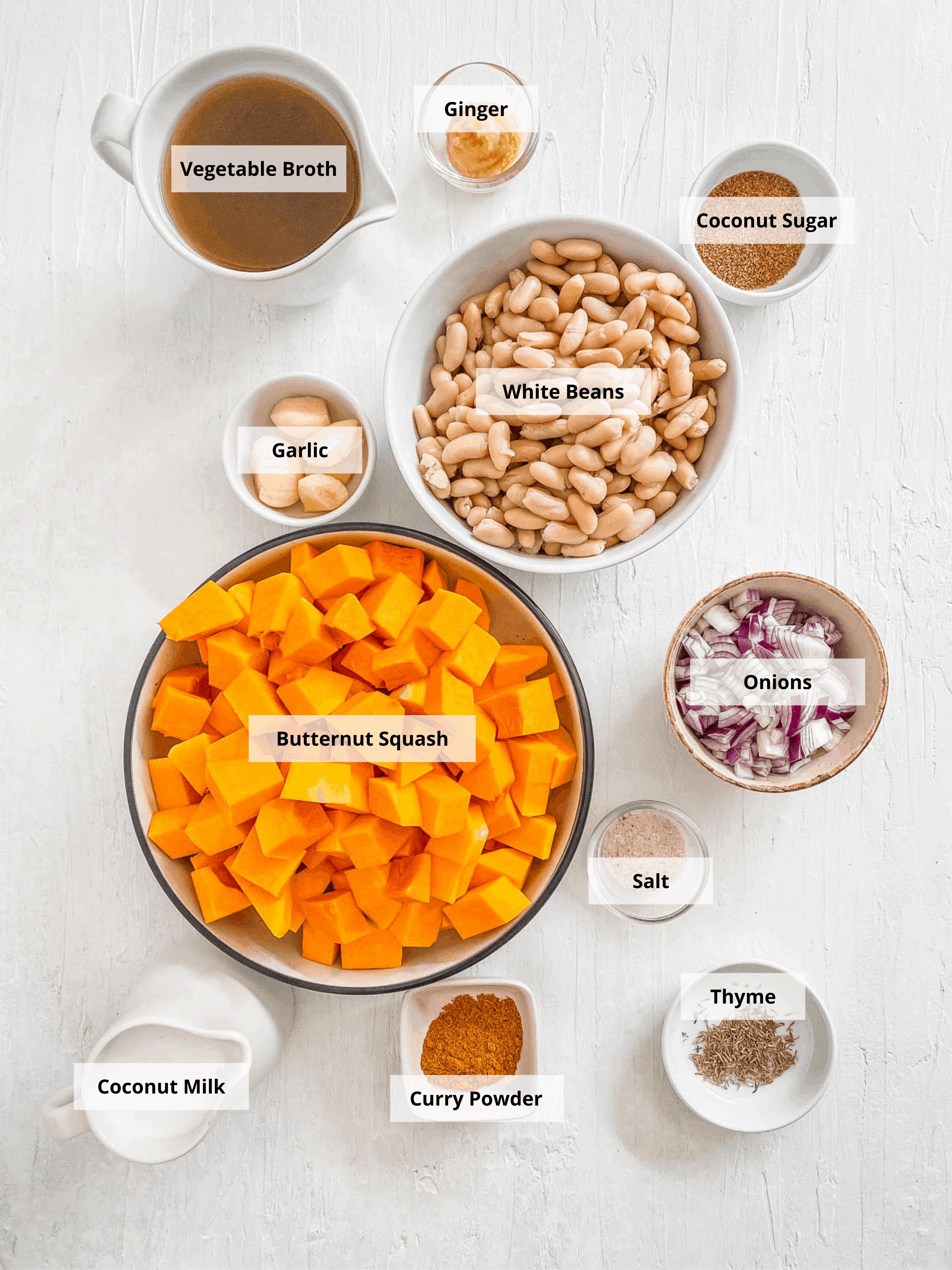 ingredients for vegan creamy butternut squash soup recipe