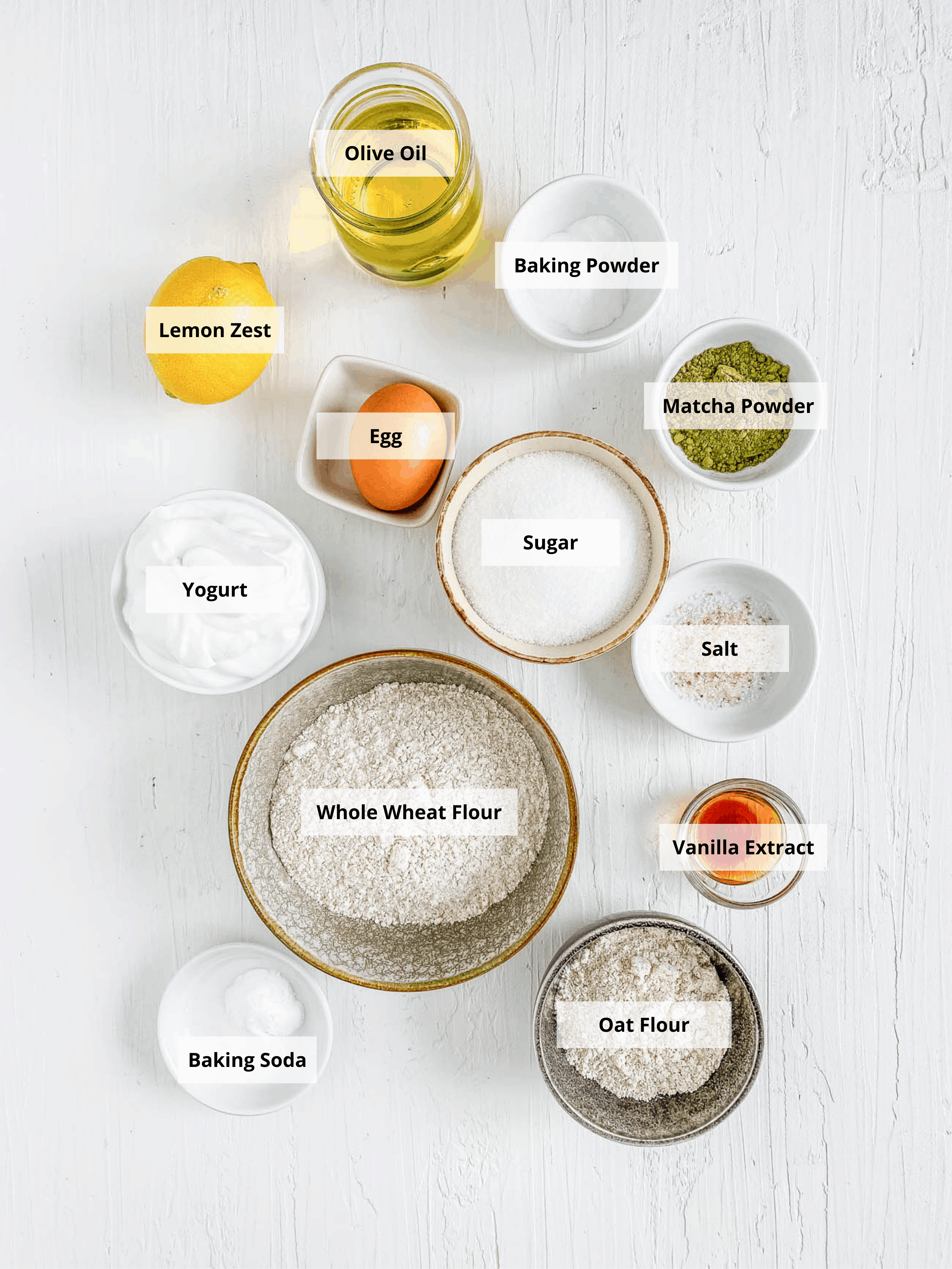 ingredients for matcha muffins recipe