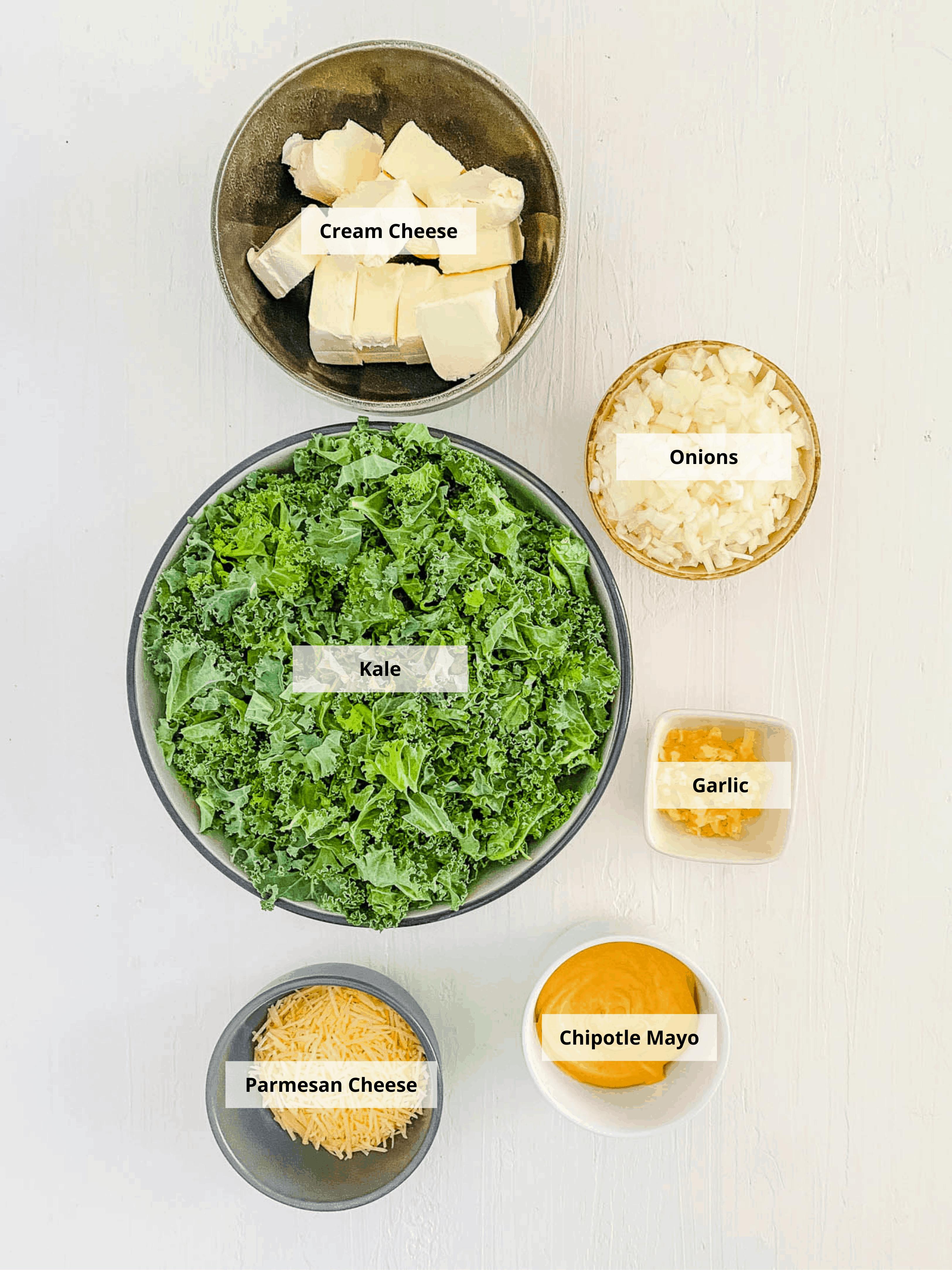 ingredients for kale dip