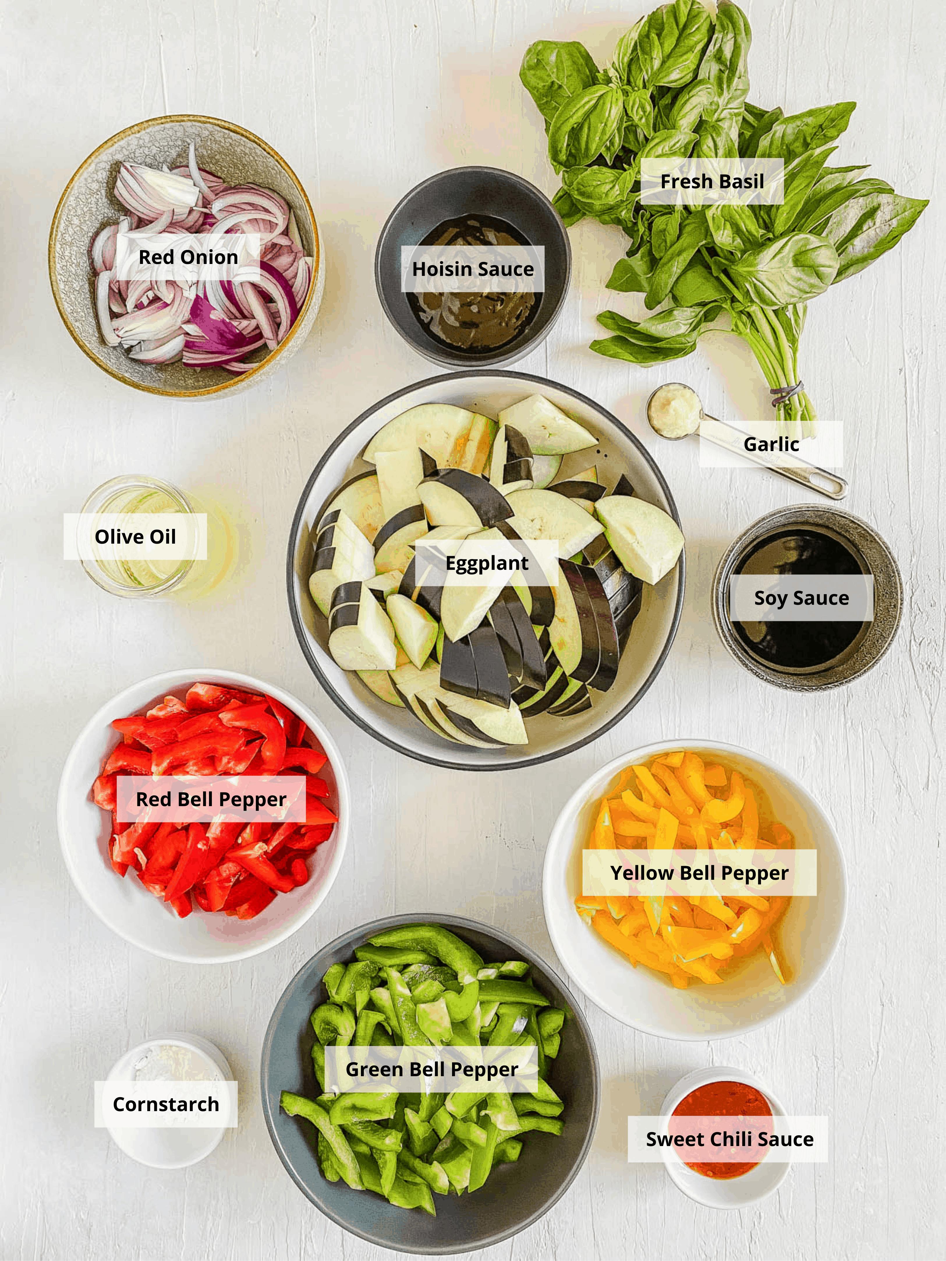 ingredients for thai basil eggplant recipe