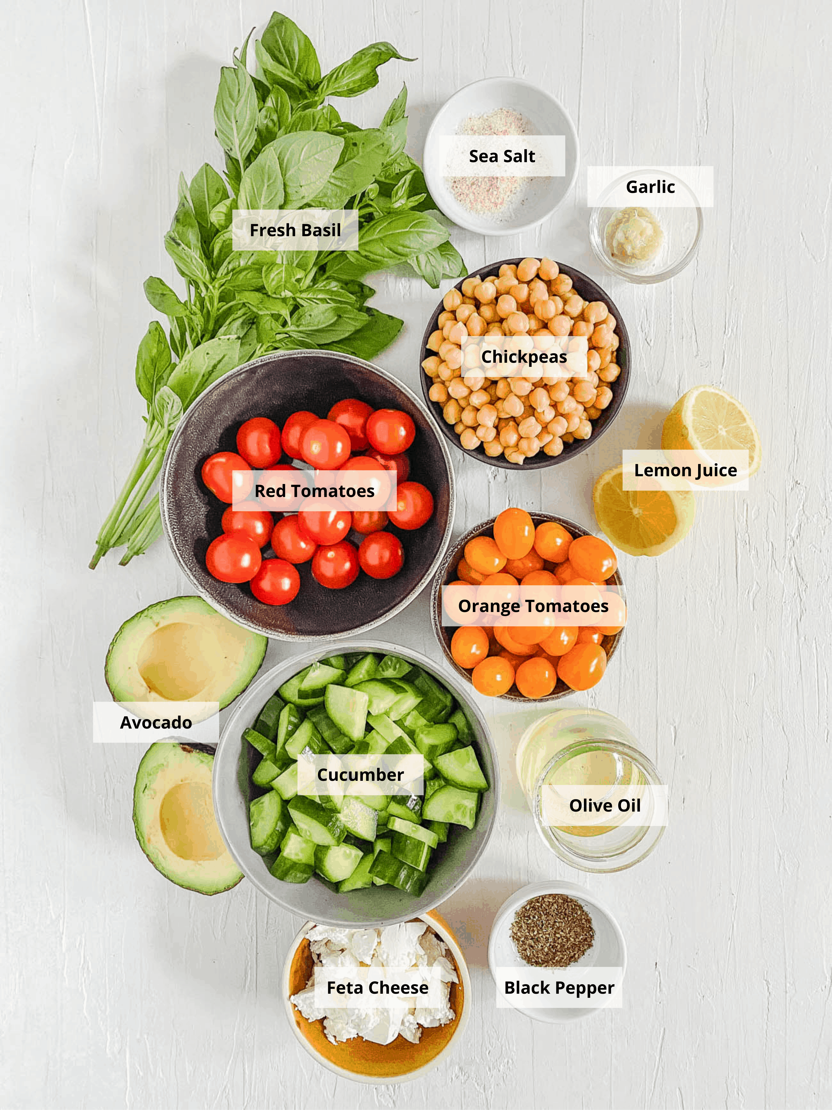 ingredients for tomato avocado cucumber salad