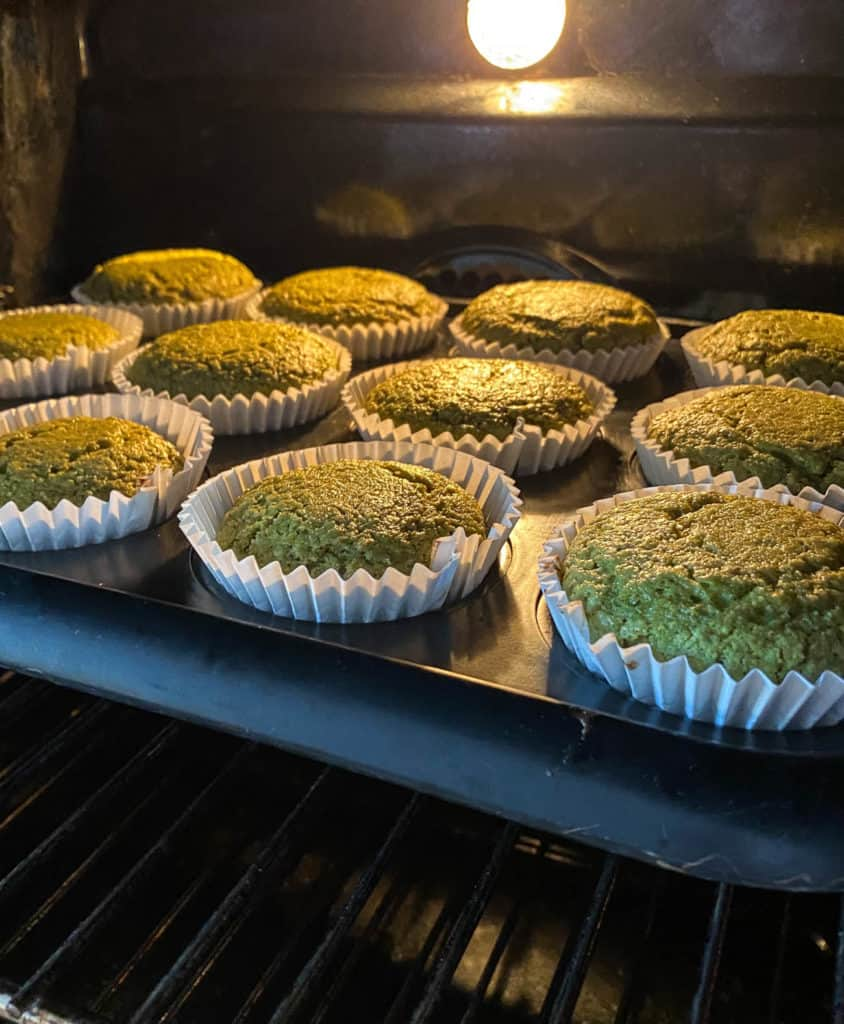 matcha muffins baking in the oven