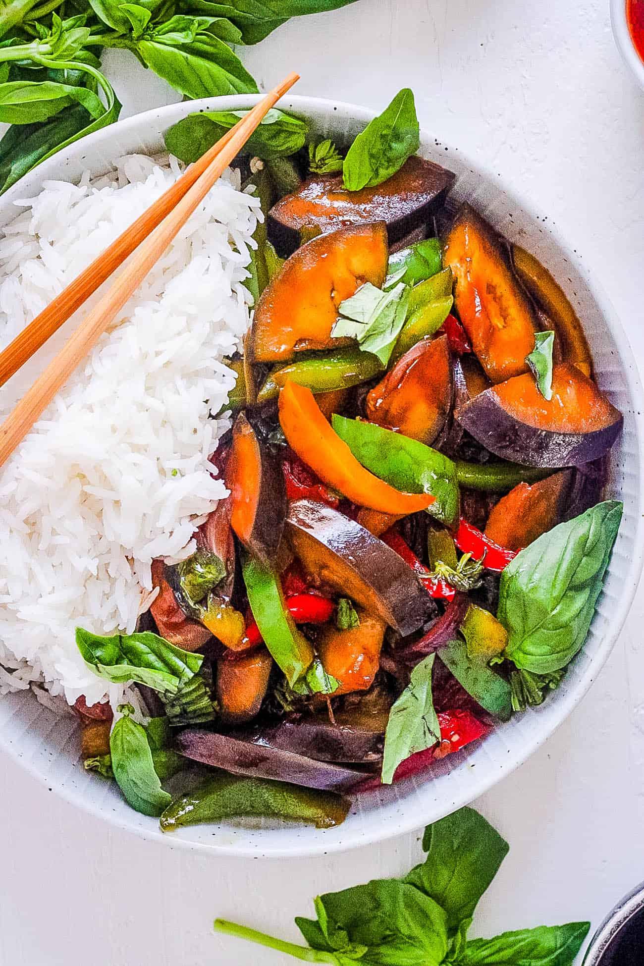 Thai Basil Eggplant Recipe (Vegan Stir Fry)