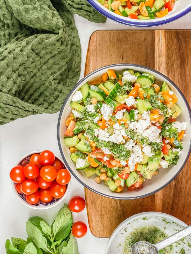 feta cheese added to salad