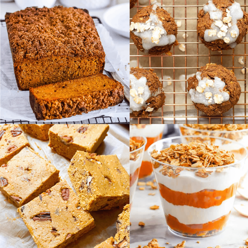 collage of easy healthy pumpkin desserts recipes