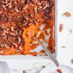 healthy easy vegan sweet potato casserole recipe in a white baking dish