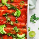 easy healthy vegan enchilada casserole recipe in a white baking dish