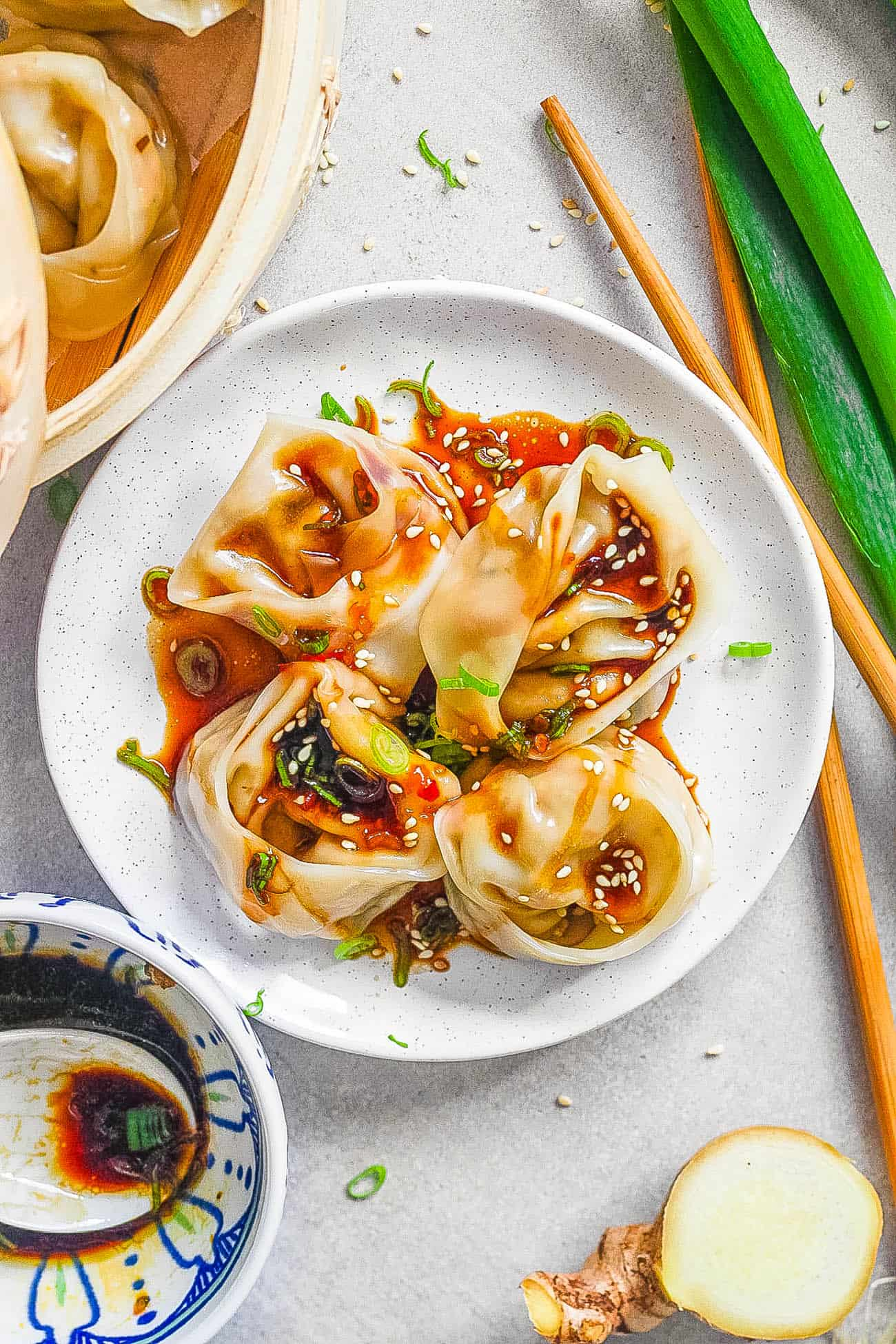 easy vegetarian wontons served on a white plate