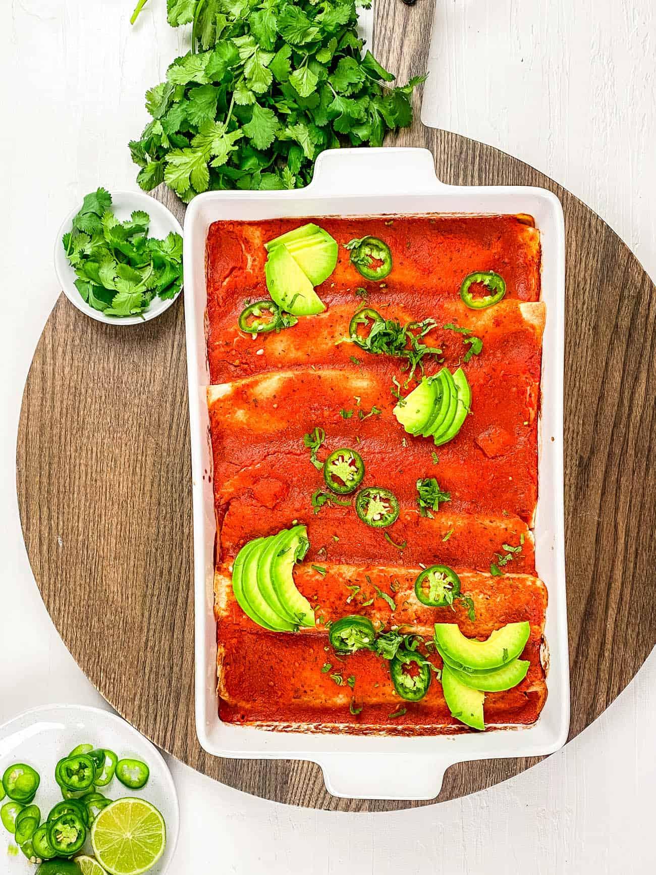 easy healthy vegan enchilada casserole recipe ready to go in the oven